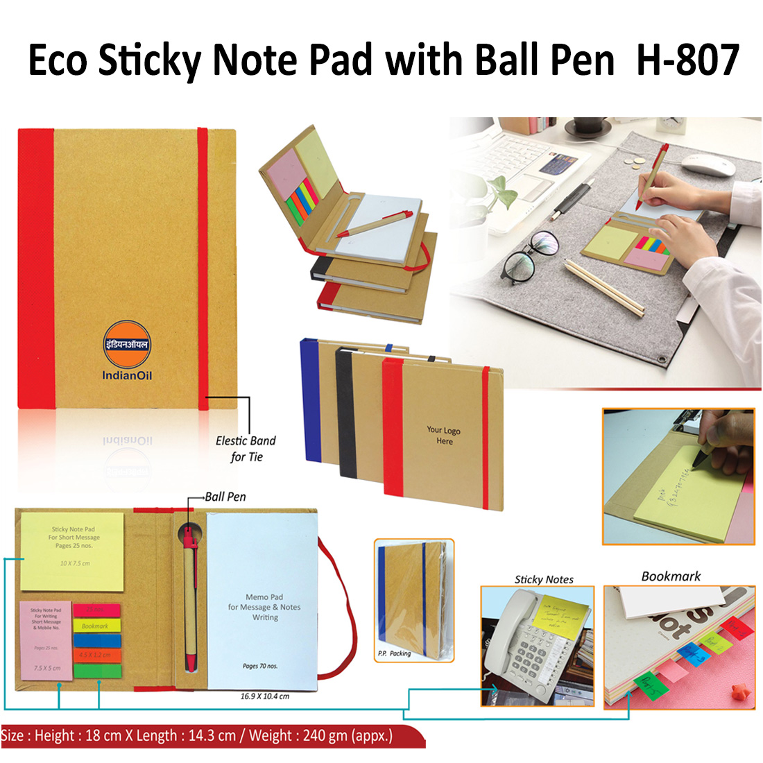 Eco Sticky Note Pad with Ball Pen H-807
