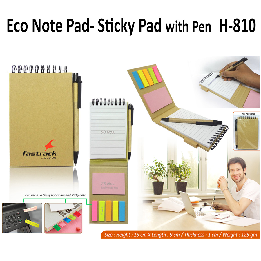 Eco Sticky Memo Pad with Pen H-810