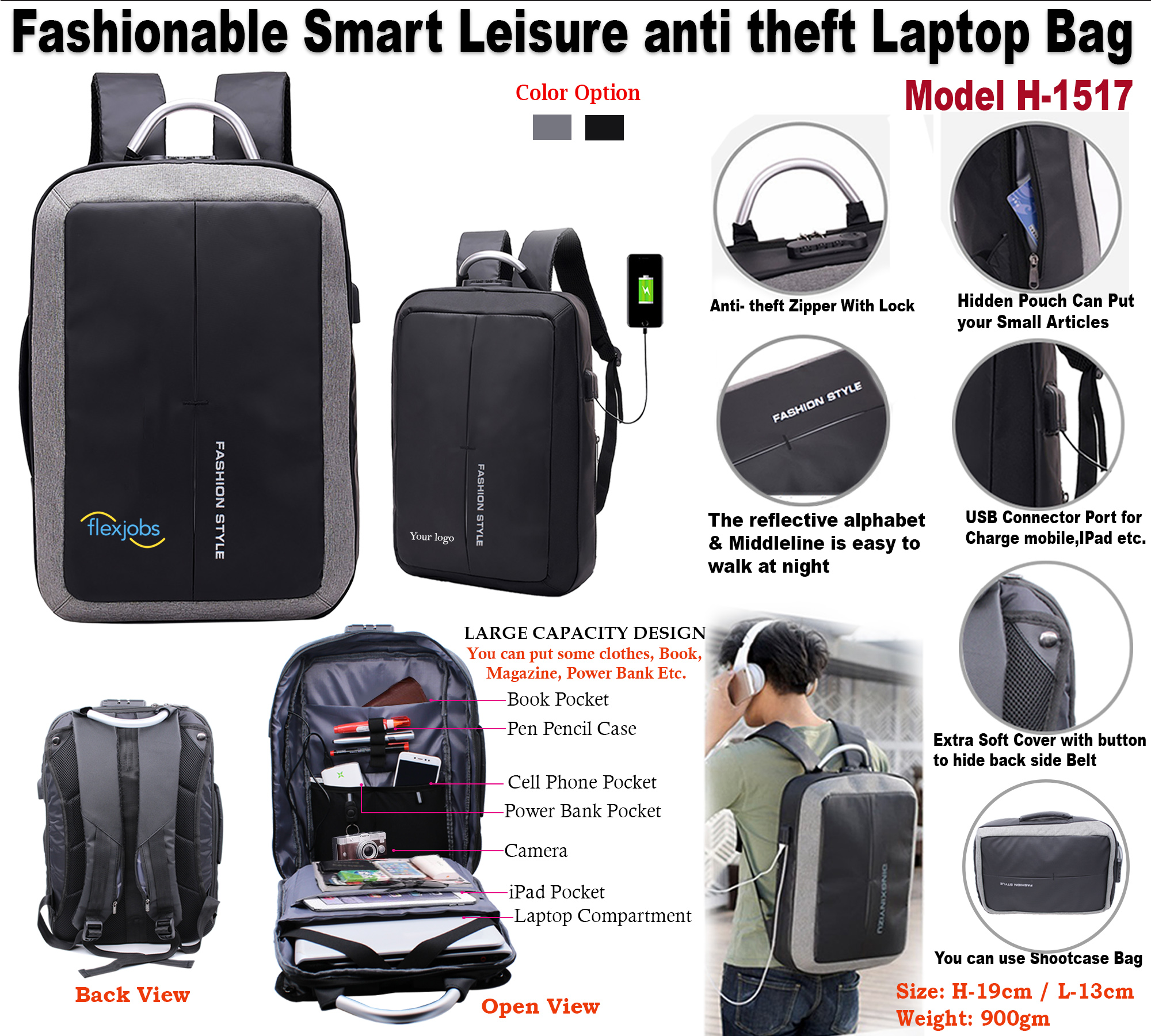 Fashionable Smart Leisure anti theft Laptop Bag H-1517