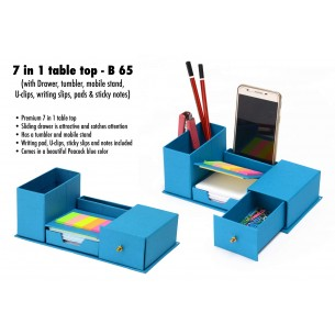 7 IN 1 TABLE TOP WITH DRAWER, TUMBLER, MOBILE STAND, U-CLIPS, WRITING SLIPS, PADS AND STICKY Note B6