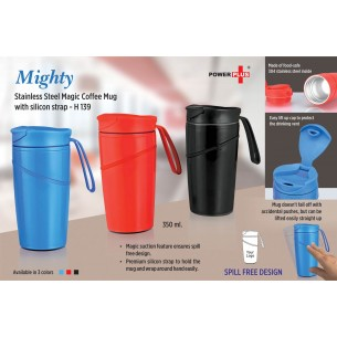 MIGHTY STAINLESS STEEL MAGIC COFFEE MUG WITH SILICON STRAP (350 ML) (SPILL FREE DESIGN) H139