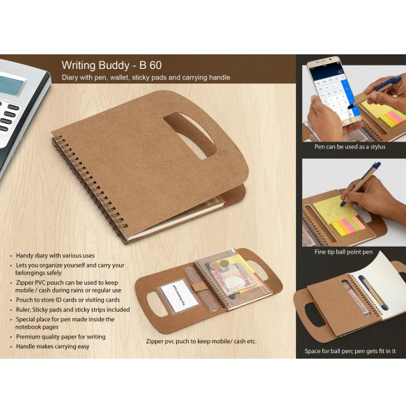 WRITING BUDDY: DIARY WITH PEN, WALLET, STICKY PADS AND CARRYING HANDLE B60
