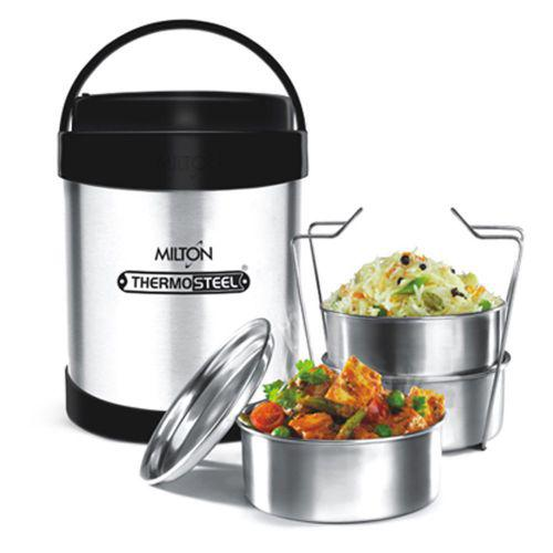 Milton Thermosteel Royal Insulated Tiffin Box, Steelplain - 3 containers