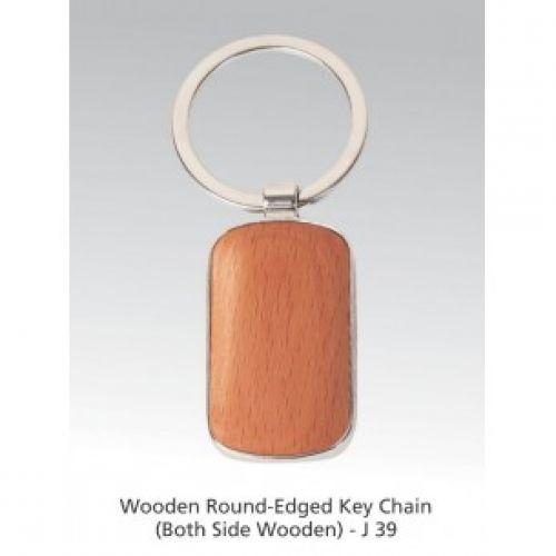 WOODEN ROUND EDGE KEY RING (BOTH SIDE WOODEN) J39
