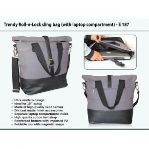 TRENDY ROLL-N-LOCK SLING BAG (WITH LAPTOP COMPARTMENT) E187