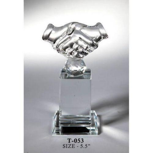 Hand Shake Crystal Trophy
