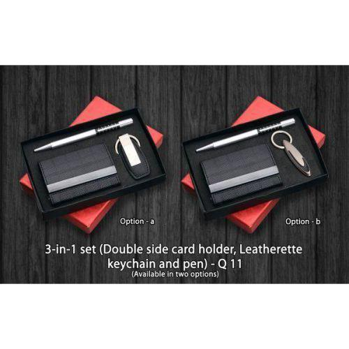 3 in 1 set (Double side card holder, Leatherite keychain and pen) Q11