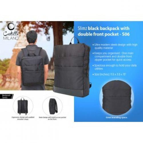 SLIMZ BLACK BACKPACK WITH DOUBLE FRONT POCKET BY CASTILLO MILANO S06