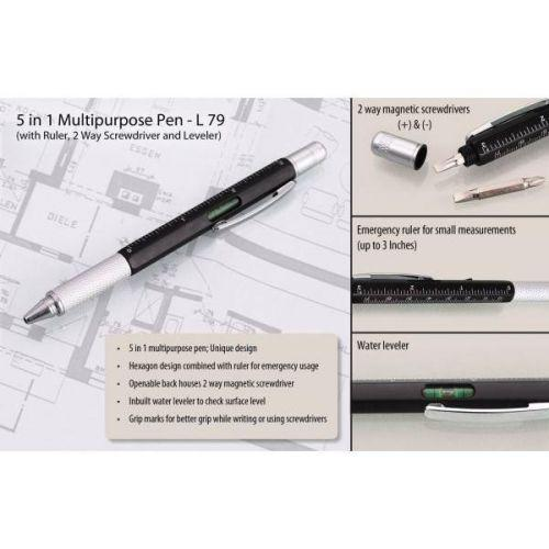 5 in 1 Pen with ruler, 2 way screwdriver and level