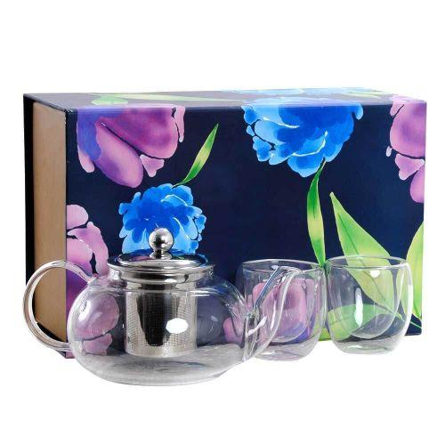 TEA FOR TWO GIFT BOX (BOROSILICATE GLASS TEAPOT WITH TWO HEAT PROOF DOUBLE WALLED TEA CUPS) - BEST D