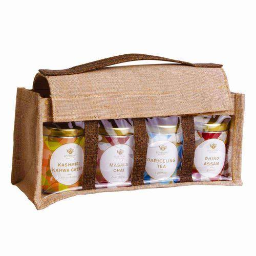 GOODWYN ECO JUTE TEA GIFT BAG, TRADITIONAL INDIAN FLAVORS: RHINO ASSAM, KASHMIRI KAHWA GREEN TEA & D