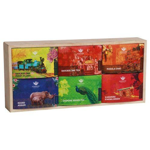 GOODWYN ESTEEMED INDIAN TEA, CUBE GIFT BOX (RHINO ASSAM, MASALA CHAI, DARJEELING, JASMINE GREEN, DAR