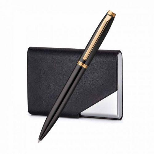 Atlas Gloss Black Ballpoint Pen With Business Card Holder - Black