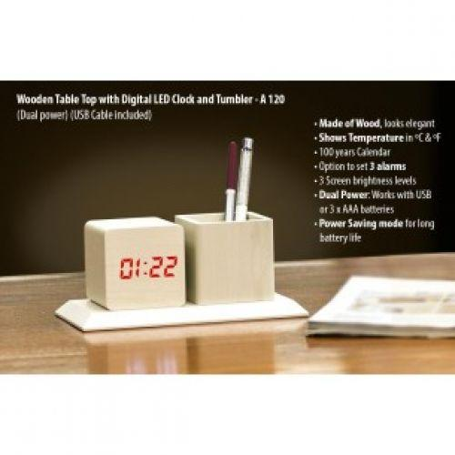 WOODEN TABLETOP WITH DIGITAL LED CLOCK AND TUMBLER (DUAL POWER) (USB CABLE INCLUDED)  A120