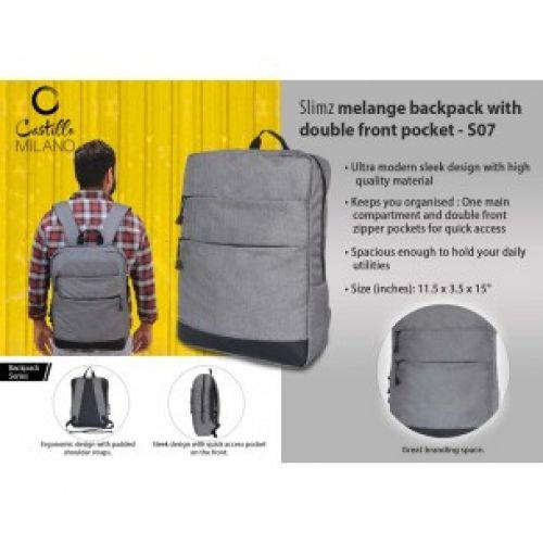 SLIMZ GRAY BACKPACK WITH DOUBLE FRONT POCKET BY CASTILLO MILANO S07