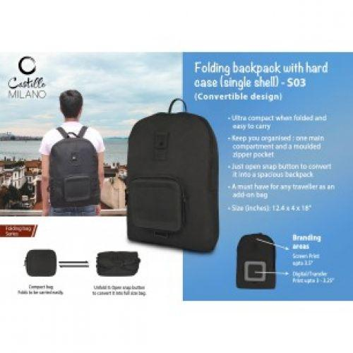 FOLDING BACKPACK WITH HARD CASE (SINGLE SHELL) BY CASTILLO MILANO S03