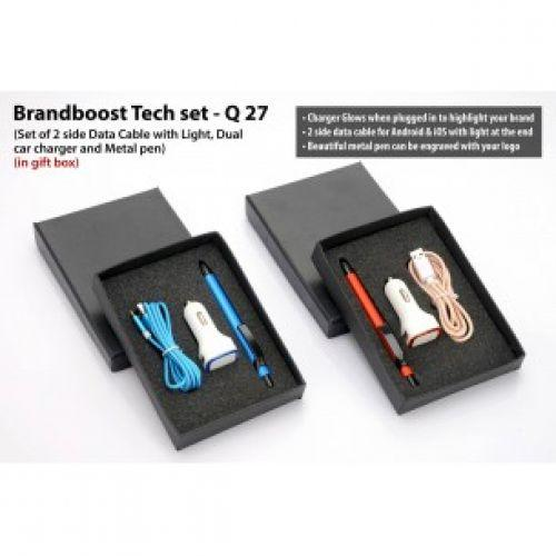 BRANDBOOST TECH SET: SET OF 2 SIDE DATA CABLE WITH LIGHT (C49), DUAL CAR CHARGER (C09) AND METAL PEN