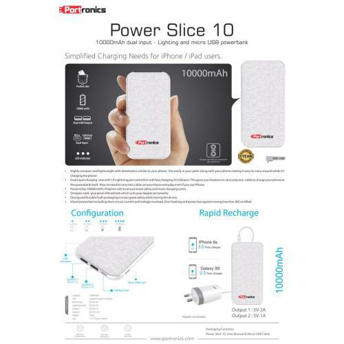 Portronics Slice 10 - 10000 mAH Power Bank
