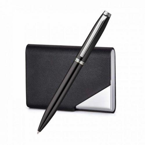 Atlas Glossy Chrome Trim Ballpoint Pen With Business Card Holder - Silver PENNLINE