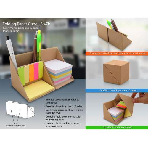 Folding Wooden cube (with memopad and tumbler) (In