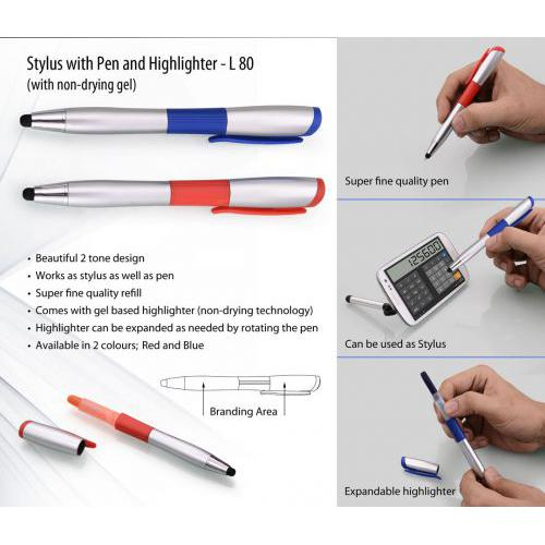 Stylus pen with non-drying Gel highlighter