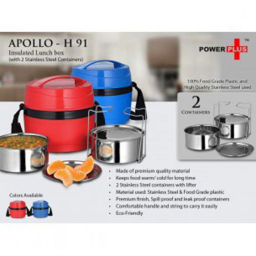 H91 - POWER PLUS APOLLO INSULATED LUNCH BOX (2 STEEL CONTAINERS)