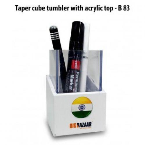 TAPER CUBE TUMBLER WITH ACRYLIC TOP B83