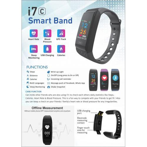 XECH Heart Rate Blood Pressure Monitor Smart Fitness Band i7C
