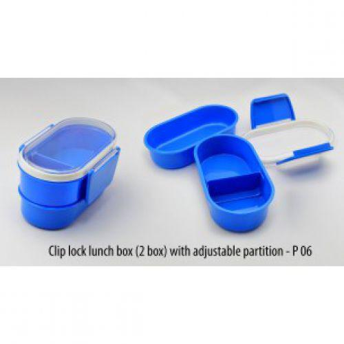 CLIP LOCK LUNCH BOX WITH ADJUSTABLE PARTITION (2 BOX) P06