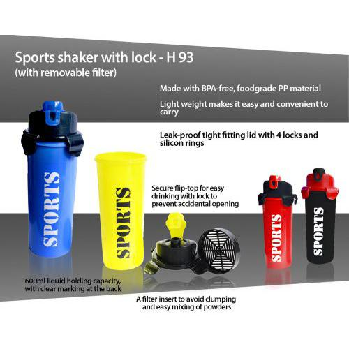 Sports shaker with lock (with removable filter) H93