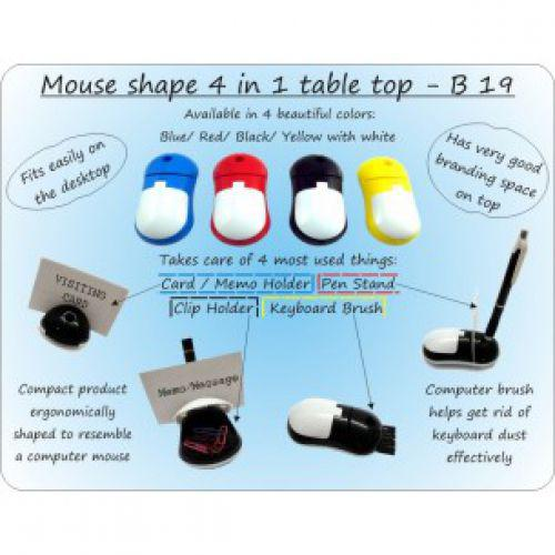 MOUSE SHAPE 4 IN 1 TABLE TOP (WITH PEN HOLDER, MEMO HOLDER, PAPER CLIP HOLDER & KEYBOARD CLEAN