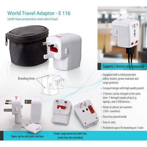 World Travel adaptor (with fuse protection)