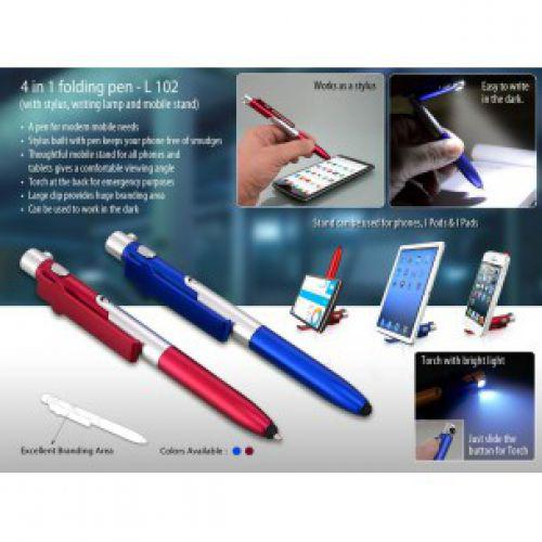4 IN 1 FOLDING PEN WITH STYLUS, WRITING LAMP AND MOBILE STAND L102