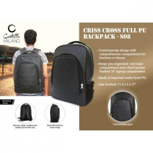 CRISS CROSS FULL PU BACKPACK BY CASTILLO MILANO S08