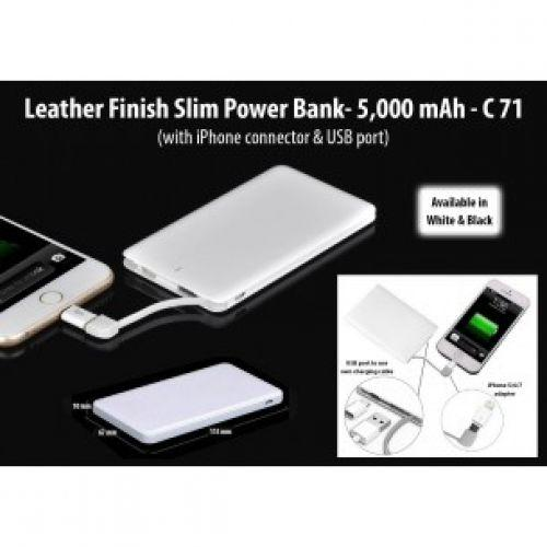 LEATHER FINISH SLIM POWER BANK WITH IPHONE CONNECTOR & USB PORT (5,000 MAH) C71