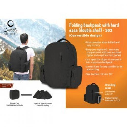 FOLDING BACKPACK WITH HARD CASE (DOUBLE SHELL) BY CASTILLO MILANO S02