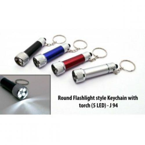 J94 - ROUND FLASHLIGHT STYLE KEYCHAIN WITH TORCH (5 LED)