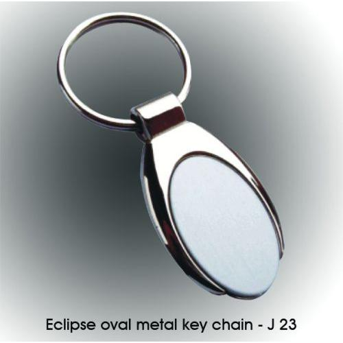Eclipse oval metal key chain