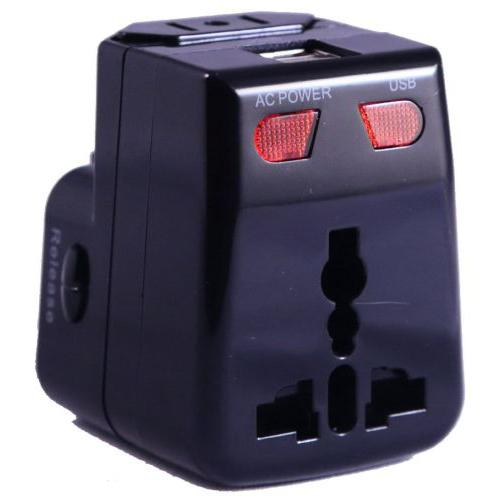Artis UV100 Universal Travel Adapter/Converter/Charger with 1A USB Port