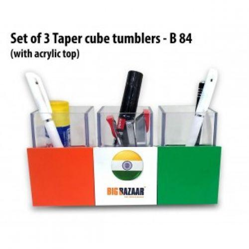 SET OF 3 TAPER CUBE TUMBLERS WITH ACRYLIC TOP B84