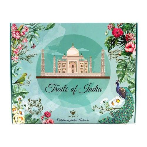 GOODWYN SUPREME INDIAN TEA, TRAILS OF INDIA, SOUVENIR GIFT BOX (FLAVOURS: DARJEELING, KASHMIRI KAWHA